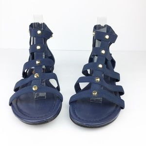 NWT SZ 8 Navy Blue Marc Fisher Stretch Gold Sandal